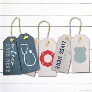 TM139- A Hero Lives Here First Responder Door Tags